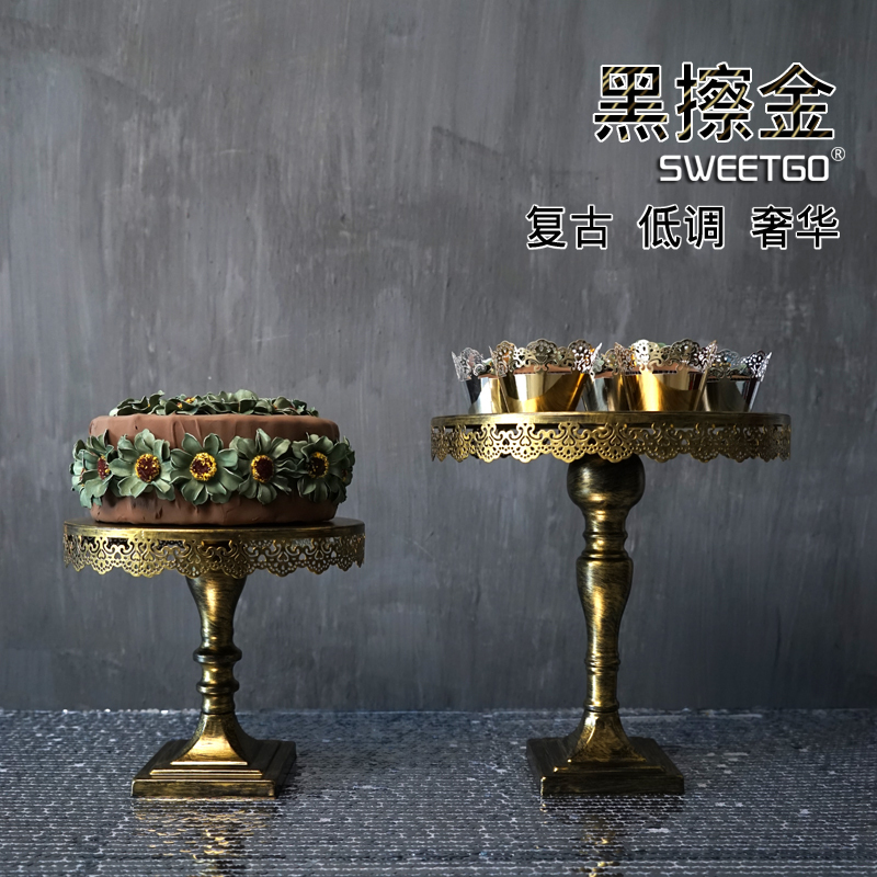 1 Pcs Golden European Vintage Wedding Party Decorative Cake Stands - Kitchen, Dining and Bar