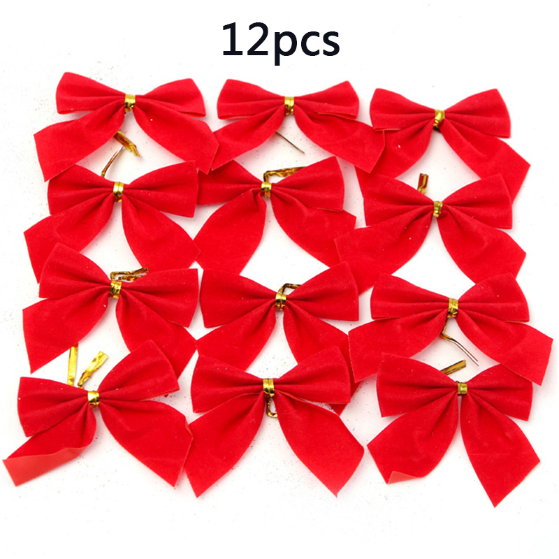 8pcs Red Christmas Tree Tie On Bow Decorations Xmas Tree