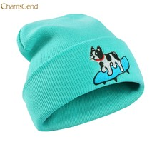 2018 New Arrival Winter Hat Women Men Dog print Pattern Knitted Hip Hop Warm Baggy Cap Master Designer Dropship 170914(China)
