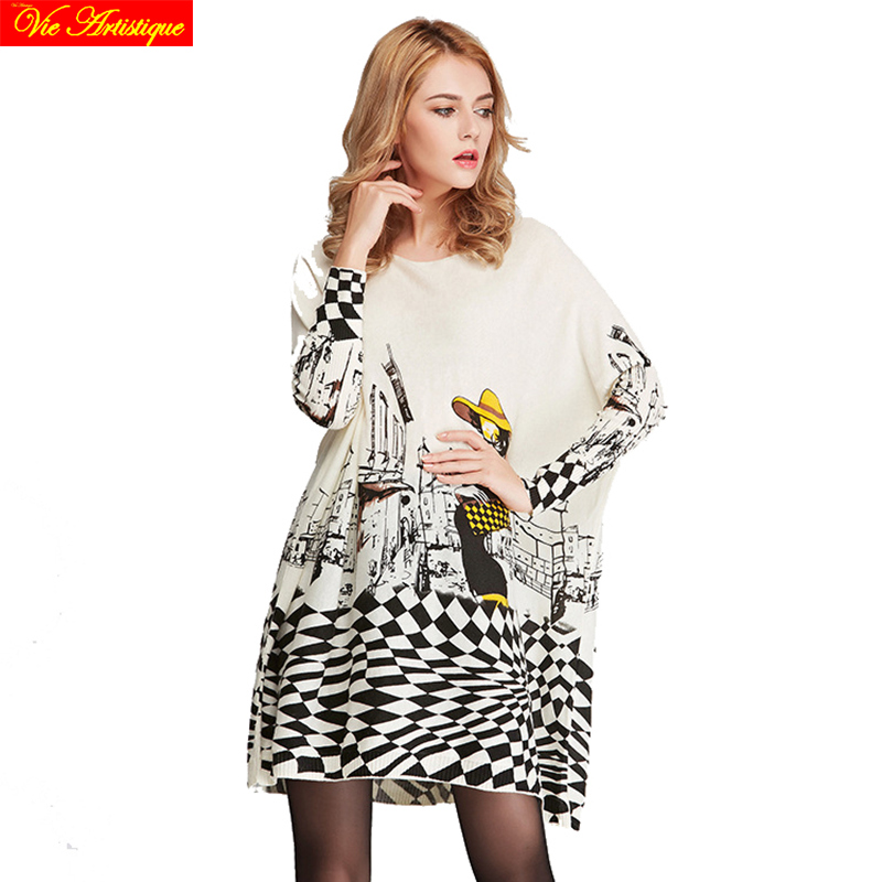womens sweat female long Christmas sweaters and pullovers loose oversize turtleneck printed fashion model boho 2018 spring VA