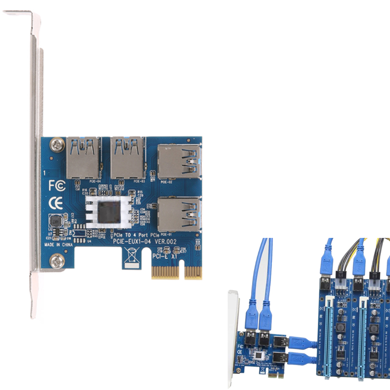 PCI-E PCI Express Riser Card expand card board PCIE 1 to 4 USB Adapter Card 1x to 4-port 16x adaptor for Bitcoin Mining Machine adaptador pci express 4 portas pci express card usb 3 0 placa de expansao adicionar em cartoes com 4 pinos da fontedealimentacao