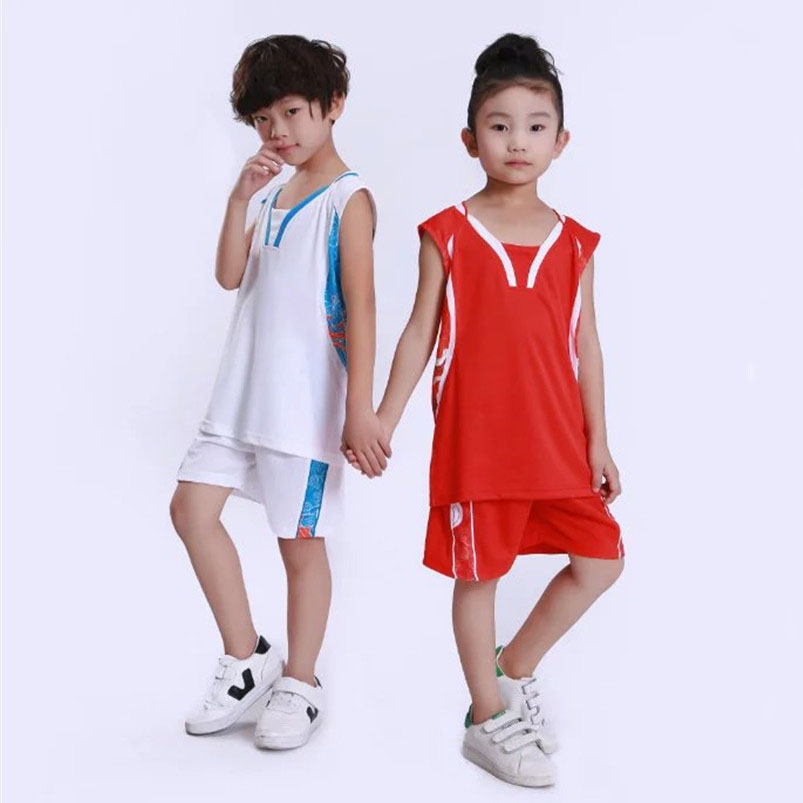 Boy Girls Sleeveless Basketball Sets , Quick Dry Kid Cheap Dragon Basketball Jersey Clothes , Youth Basketball Uniforms Clothing