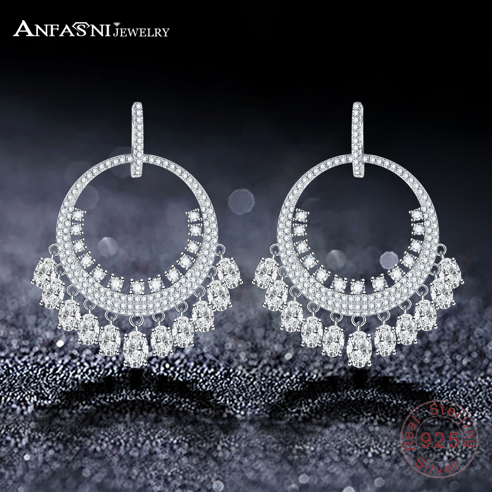 ANFASNI 925 Sterling Silver Luxury Long Falls Earrings Clear Zirconia Paved Fashion Earrings For Wedding Party Jewelry CGSER0134