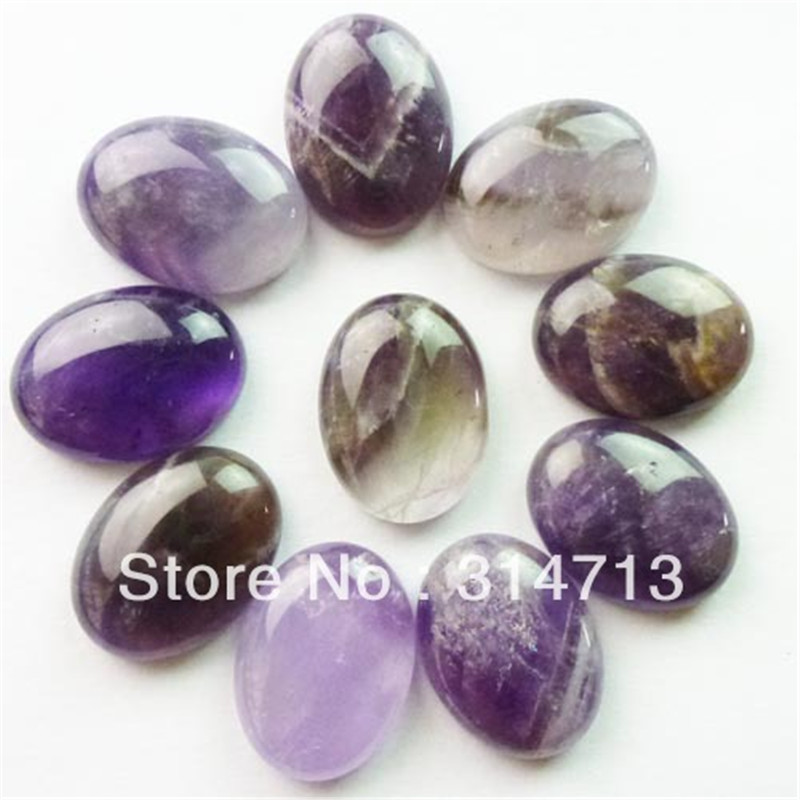 (Min.order 10$ mix) Free shipping (10 pieces/lot) Natural Natural Purple Stone Oval CAB CABOCHON 20x15x6mm