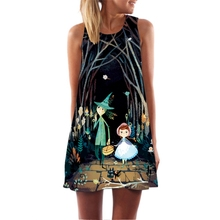 New Summer Women Dress Casual Sleeveless Loose Digital Floral Print Mini Dresses Female Clothing 2017