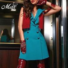 Max Spri 2019 New Vestidos Women Sexy V Neck Sleeveless Bodycon Tassels Button Blazer Dress Party Club Summer Office Lady