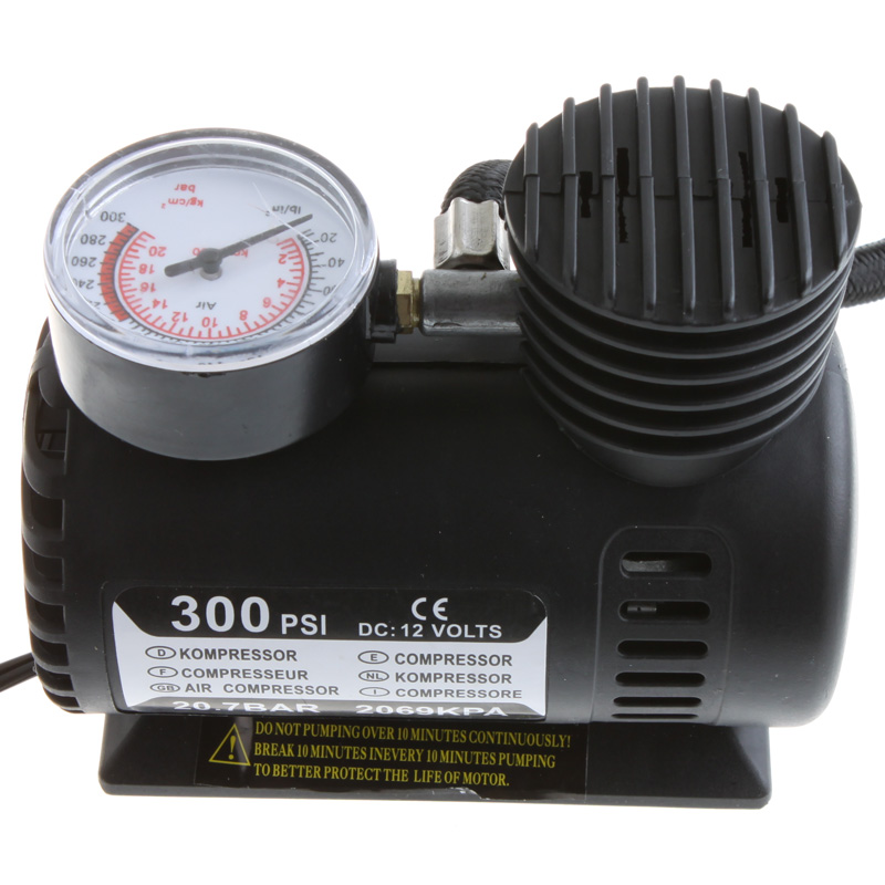 Portable Car/Auto 12V Electric Air Compressor/Tire Inflator 300PSI 300psi 12v mini air compressor auto car electric tire air inflator pump csl2018