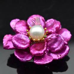 Amxiu ручной работы на заказ натуральный жемчуг Fritillaria броши ювелирные изделия настоящее позолоченное фиолетовое цветок брошь булавки