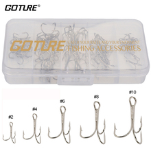 Goture Treble Fishing Hook Set Size # 2/4/6/8/10 Stainless Steel Silver Black Brown for Carp Fishing Hooks Japan 50pcs/box