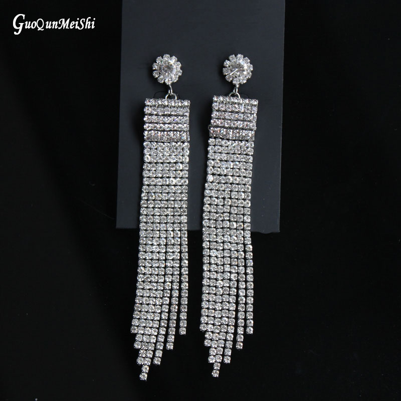 New Jewelry Gold Color Plated With Full Rhinestone Tassel Long Jewelry Wholesale for Women Fashion Jewelry