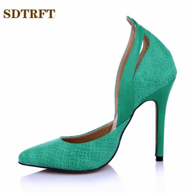 SDTRFT Plus:35-42 43 Summer D'Orsay Sandals zapatos mujer 12cm thin High-Heeled wedding shoes woman sexy Green serpentine pumps