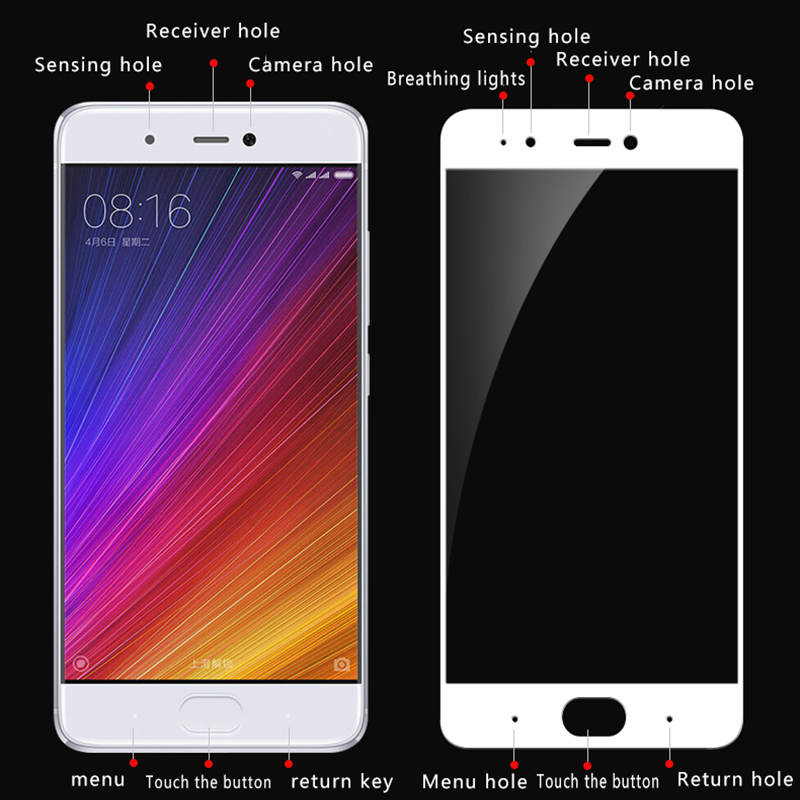 For Xiaomi 5S Tempered Glass Color Full Cover Screen Protector Film Guard For Xiaomi Mi 5S Mobile Phone Protector Glass in Phone Screen Protectors from Cellphones Telecommunications