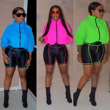 цена на 2019 Loose Neon Jacket And Biker Shorts Set 2 Piece Set Casual Women Long Sleeve Jacket Tracksuits Sweat Suits Matching Sets