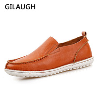GILAUGH Simple Style Men Shoes Genuine Leather Handmade Loafers High Quality Flats Driving Casual Shoes