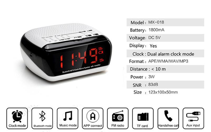 Mini Portable Dual Alarm Clock Bluetooth Stereo Speaker LCD Digital FM Radio Bluetooth Wireless Speaker Support TF For Computer (3)
