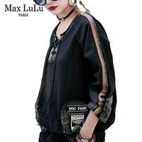 Max LuLu Fashion Japan Designer Girls Sexy Crop Tops Tees Womens 3d Striped T Shirts Harajuku Black Woman Denim Tshirt Oversized