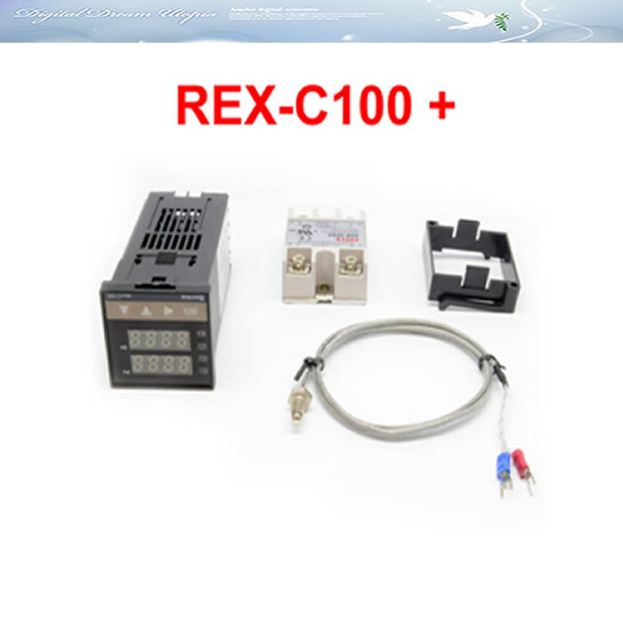 Digital PID Temperature Controller Thermostat REX-C100 + Max.40A SSR Relay + K Thermocouple Probe,hot  rex c100 digital pid temperature control controller thermostat thermometer relay output