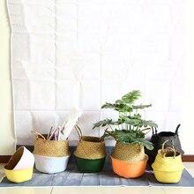 WHISM Hand-Woven Flower Pot Planter 17 Colors Folding Natural Sea Grass Plant Pot Flower Pots Decorative Garden Succulent Pot