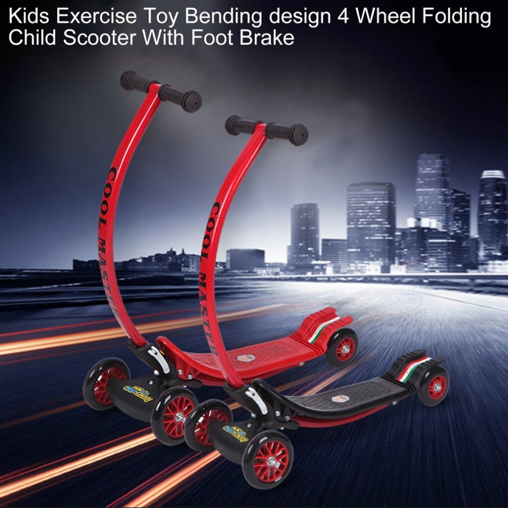 Kids Exercise Toys Bending Design 4 Wheel Folding Scooter City Roller Skateboard Child Scooter Foldable With Rear Foot Brake New 40km h 4 wheel electric skateboard dual motor remote wireless bluetooth control scooter hoverboard longboard