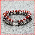 2PCS New Design High Grade 8MM Black And Red Tibetan Agate Beads Bracelet,Gold Silver Plated Buddha Heads Bracelet For Men