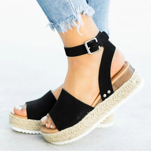 Image 4 - 2020 Summer Womens Casual Espadrilles Trim Rubber Sole Flatform Studded Wedge Buckle Ankle Strap Open Toe Sandals