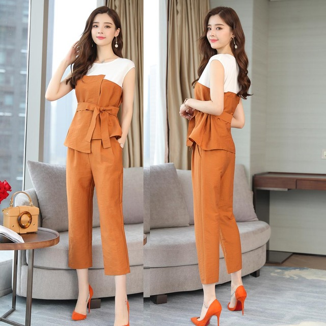 Co Ord Set Women 2 Piece Set Top And Pants Suits Summer Ourfit Orange Sliming Bodycon Sleeveless Elegant Noble Casual Clothing by Kekurily