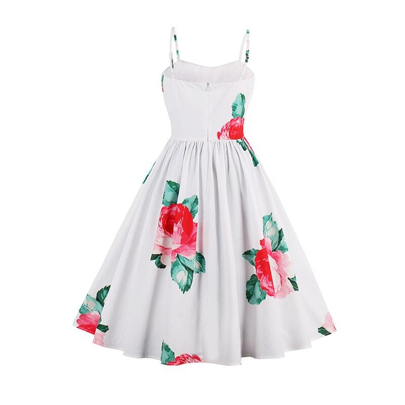 e2b47b1e602 Kinikiss Women Floral Print Dress White Sexy Female Elegant A Line Flower  Vintage Dress Spaghetti Strap Beach Retro Sundress-in Dresses from Women s  ...
