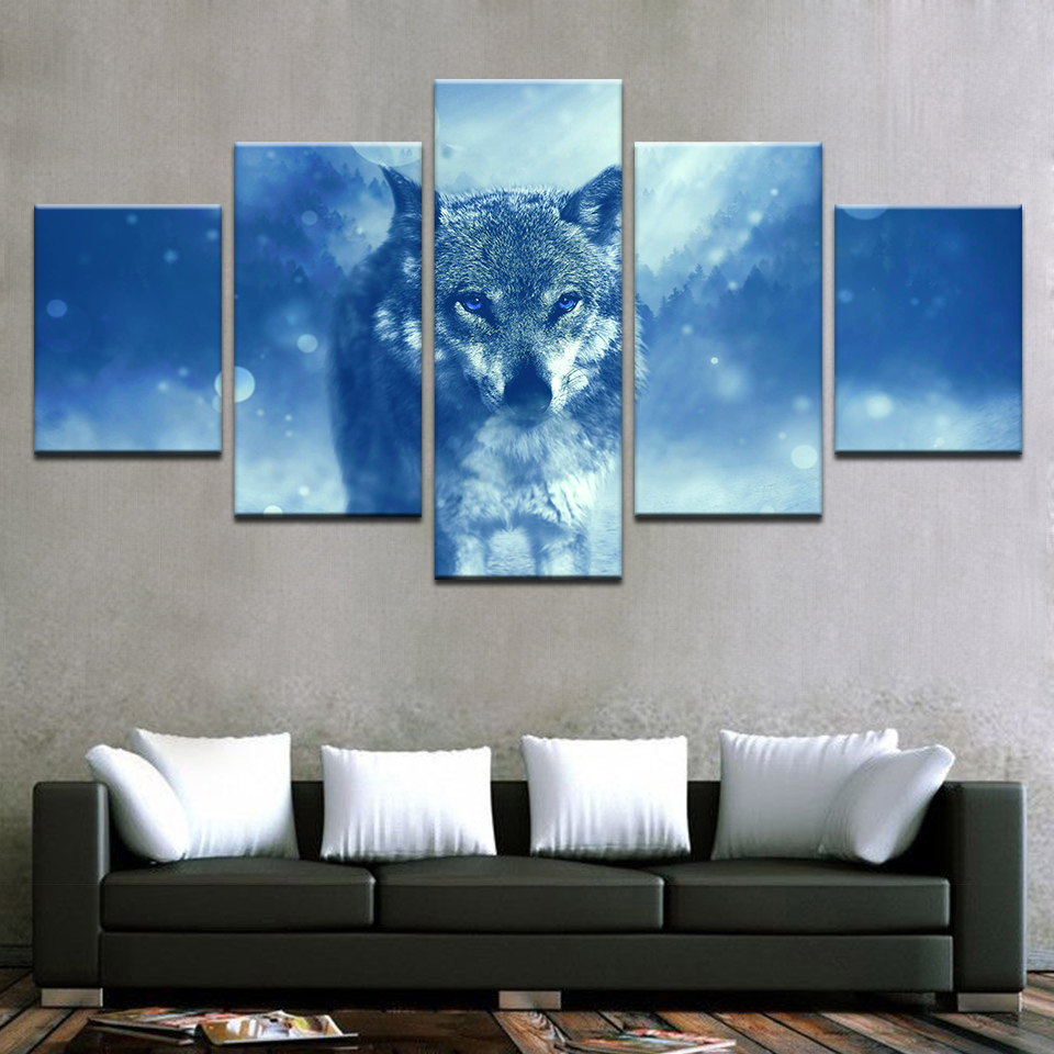 Modern Pictures For Living Room HD Printed Posters Home Decorative 5 Pieces Wall Art Framework Animal Snow Wolf Canvas Paintings in Painting Calligraphy from Home Garden