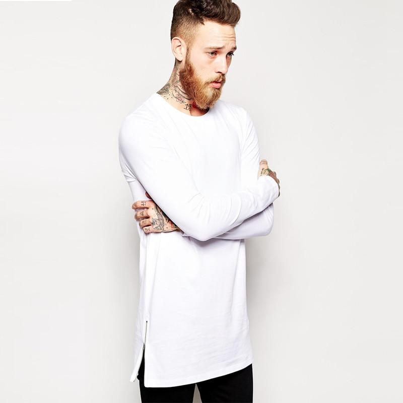ca71a9fde longline long sleeve t-shirt extra length t shirt solid tall tee men tshirt  with zipper to the hem free shipping top tees