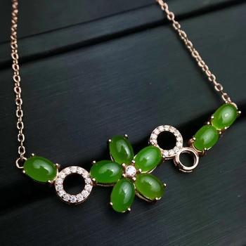 natural green jasper gem Elegant Flower necklace natural gemstone pendant necklace S925 silver girl party gift fine jewelery