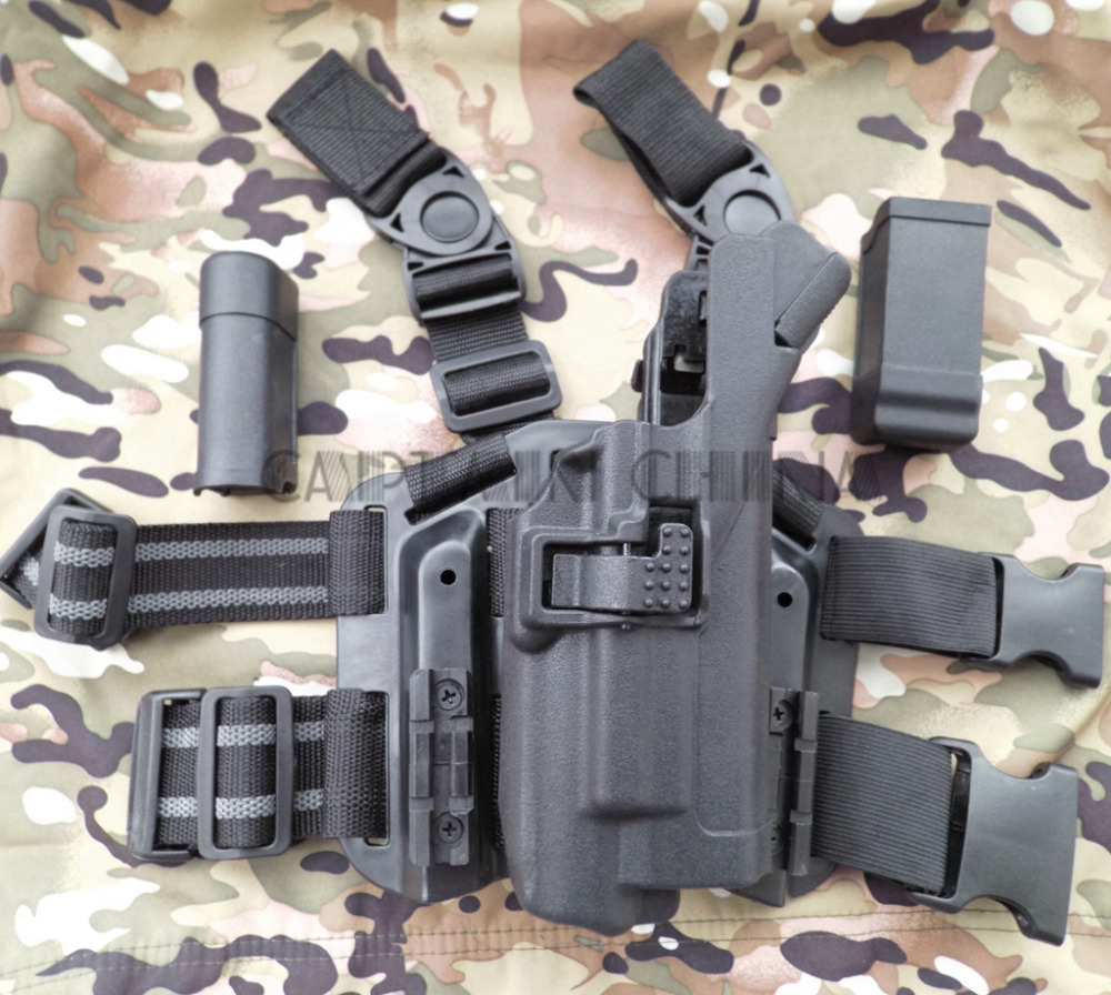 Military Tactical LV3 Light Bearing HOLSTER SET GLOCK 17 19 22 23 31 32 RH Drop Leg GLOCK holster