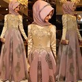 2017 Árabe vestidos de Noite Vestidos Mulheres Hijab Kaftan Dubai Vestidos de Noite Apliques de Cetim Manga Comprida Muçulmano Vestido de Noite