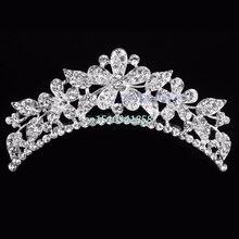 Wedding Flower Rhinestone Bridal Crystal Hair Headband Crown Comb Tiaras Prom Hair Accessories #Y51#