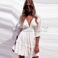 Cuerly Elegant v neck embroidery women dress Ruffle pleated cotton lace up summer dresses Casual sexy hollow out dress festa