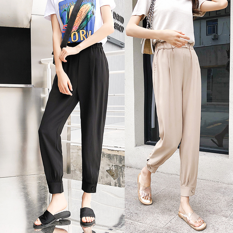 Fashion Loose High Waist Harem Pants Women Plus Size 2018 Summer New Arrival Female Button Leg Trousers Bottoms Beige Pink Black