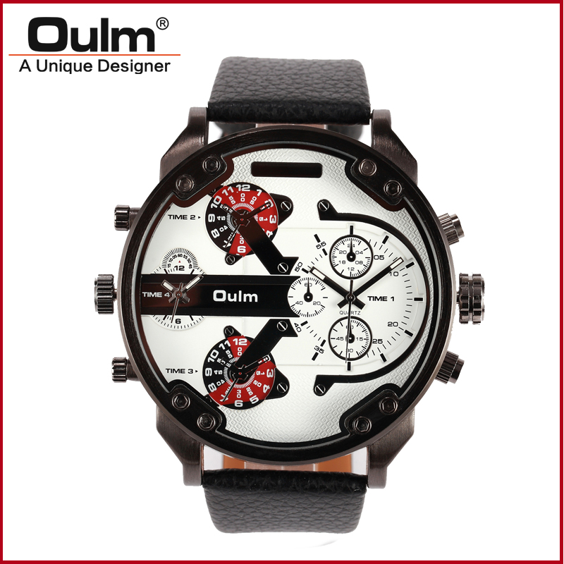 Oulm Super Large Watches for Men Two Time Zone Male Big Quartz Watch Casual Sports Wristwatch weide new men quartz casual watch army military sports watch waterproof back light men watches alarm clock multiple time zone