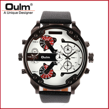Oulm brand hotsale alloy case leather belt PC21S movt dual time zone men wrist watch HP3548