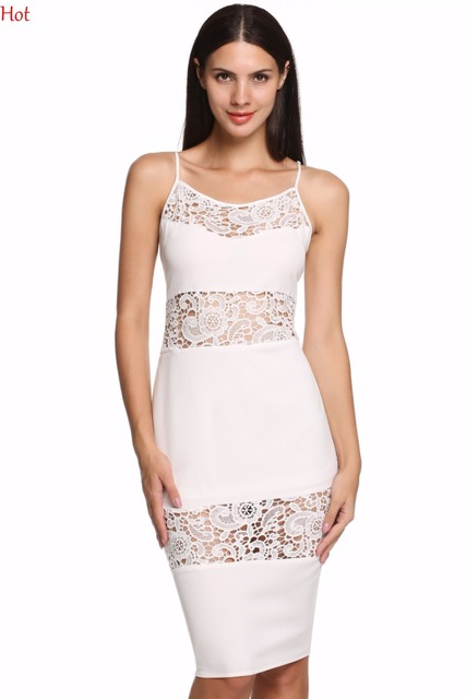 Plus Size Women Bodycon Dress Lace Crochet Knee Length Dresses Club