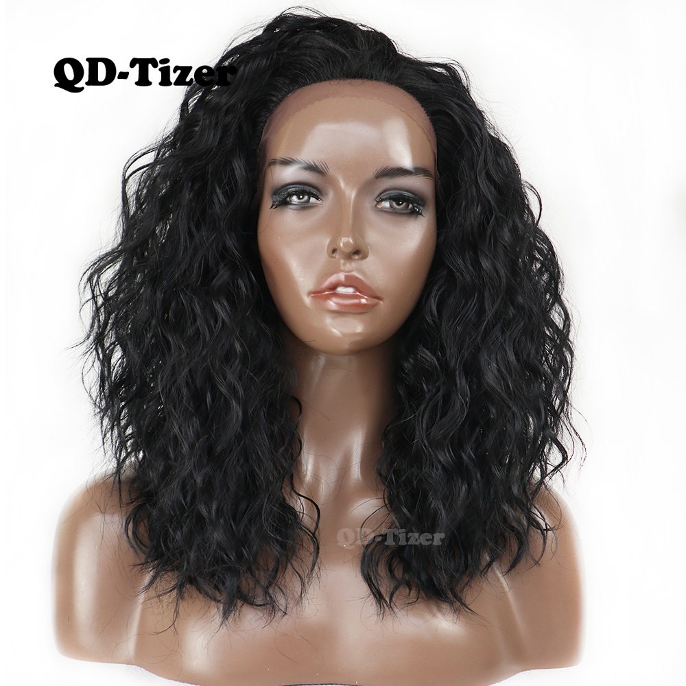 QD Tizer Short Bob Synthetic Lace Front Wigs Loose Curly Heat Resistant Glueless Black Color Lace
