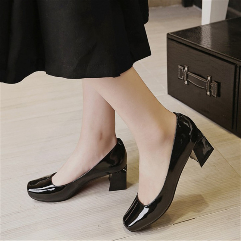 Size 34-43 Women Shoes Genuine Leather Medium Heel Woman Pumps Designer Tacones Mujer Square Toe Office & Career Casual Shoes vinlle 2017 women pumps college style square med heel vintage slip on pu leather shoes casual round toe girl shoes size 34 40