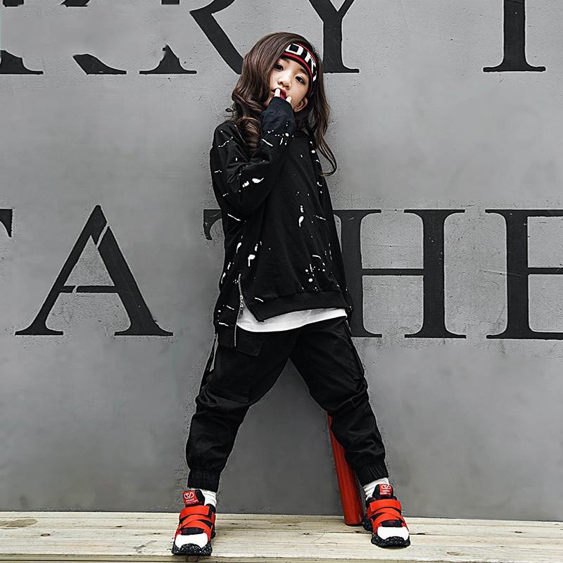Girls Black Jazz Hip Hop Dancewear Sets Fleece Tops And Harem Pants Street Dance Wear For Kids