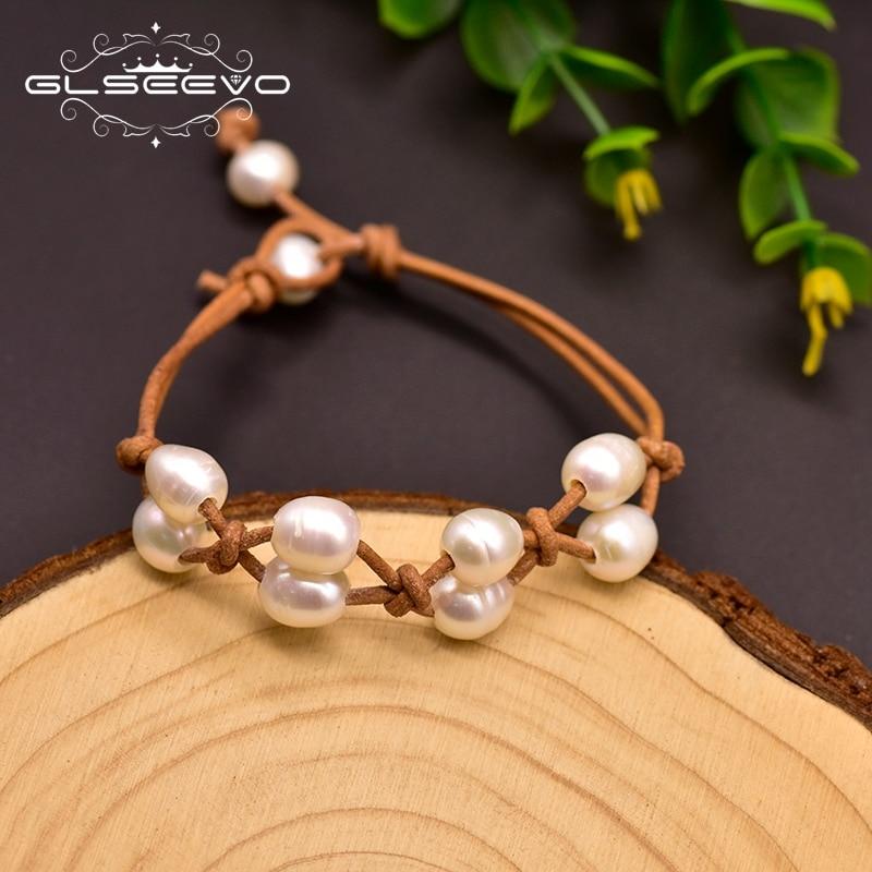 Купить натуральный кожаный браслет glseevo с пресноводным белым жемчугом