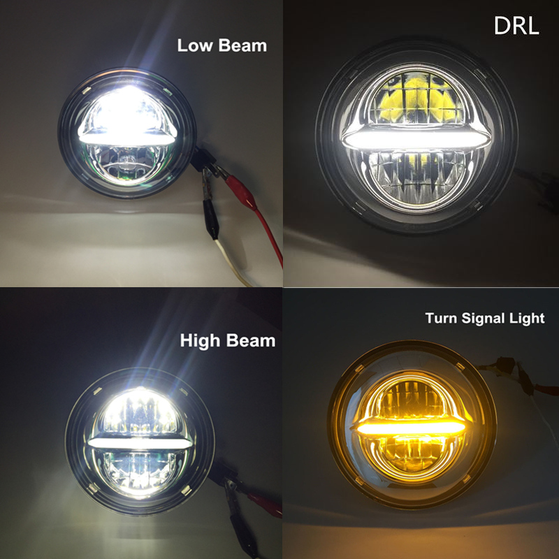 Home Motorbike Accessories 7 Turn Signal Drl Angel Eye Headlamp For Harley Softail Touring Moto Adaptive 7 Inch Round Led Headlight Cheapest Price From Our Site