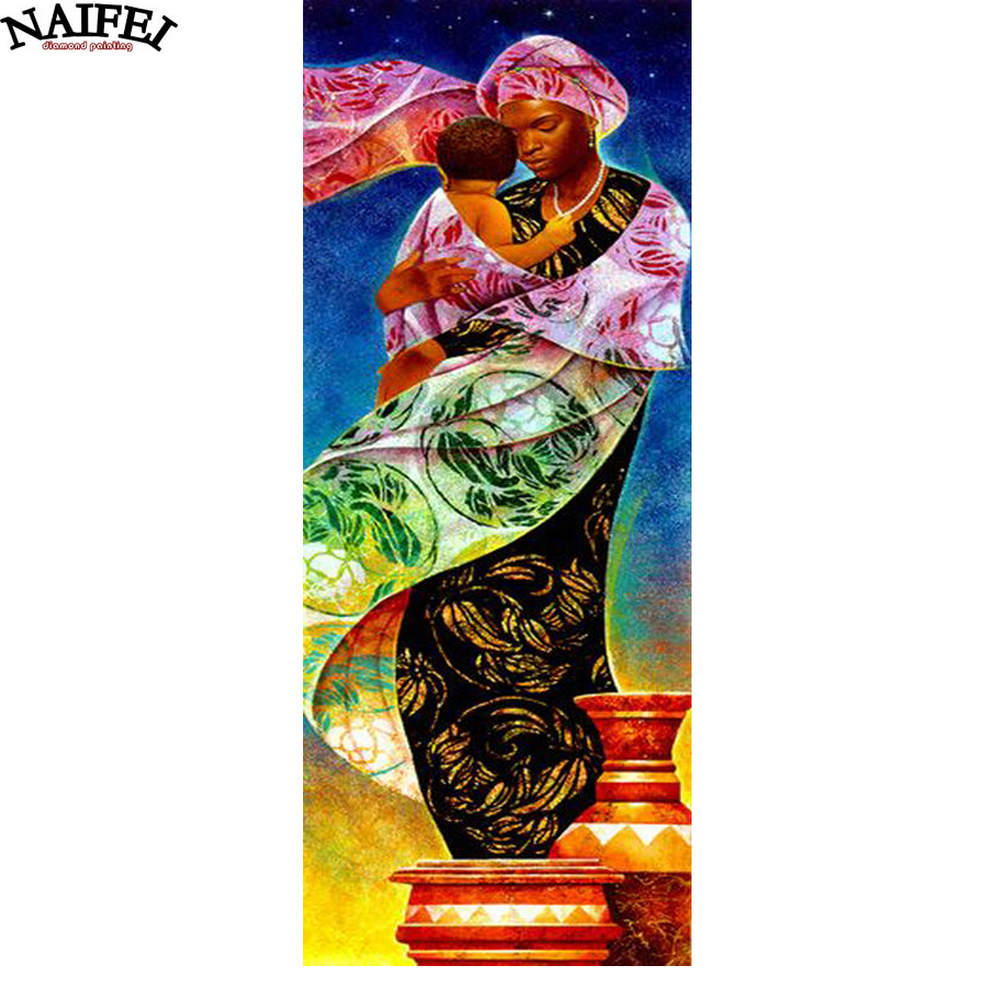 diamond embroidery sale African woman and baby,5d diamond painting,full diamond mosaic pictures of rhinestones cross-stitch gift