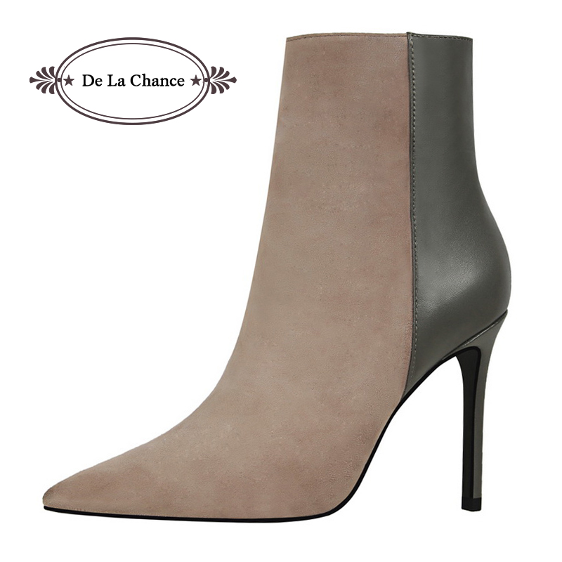 Brand Design Block Style Black Grey Women Pointed Toe Stiletto High Heels Shoes Booties Woman Boots Ladies Shoes Sexy Women Pump transparent women boots pointy toe stiletto lady pumps zippers sexy shoes woman brand design short booties rome chelsea boots