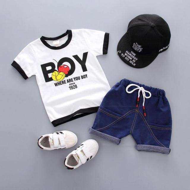 bf75172e24b01 US $5.33 |New Baby Boy Summer Mickey Clothes COTTON Infant Newborn Boy Girl  Clothing Set Sports Tshirt+ Shorts Suits-in Clothing Sets from Mother & ...