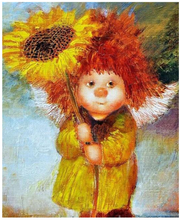 Little girl holding sunflower Oil Painting By Numbers Kits Wall Art Home Decor Semi-finished hand canvas paintings for kids room