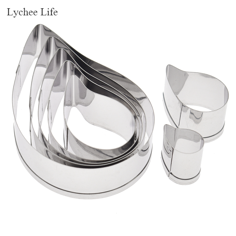 Lychee Life 7Pcs/set Stainless Steel European Paisley Spiral Flower Petal Soft Polymer Clay Cutter Molds Diy Clay Moulds Tools
