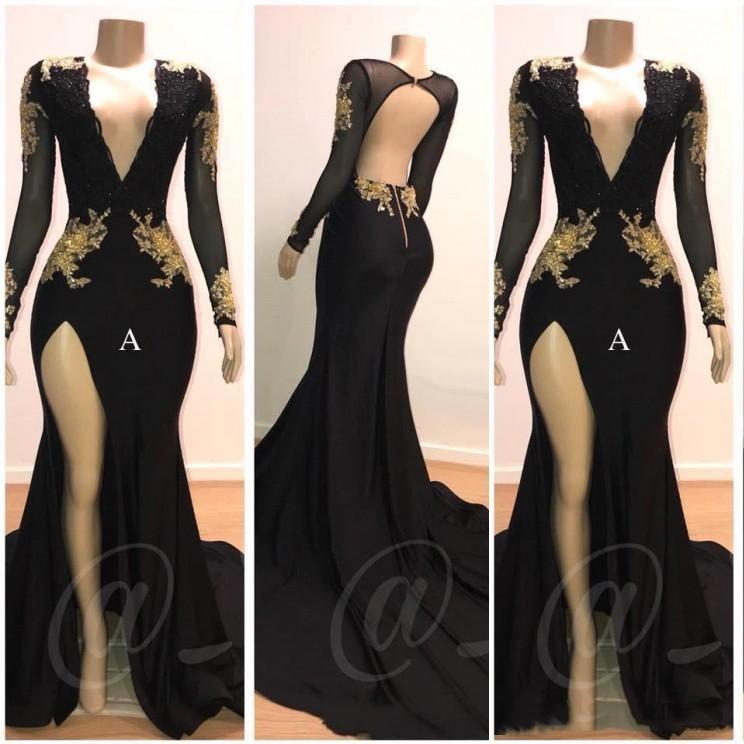 Sexy Deep V-Neck Side Slit Mermaid Prom Dress 2019 Long Elegant Appliques Long Sleeve Backless Party Dress Vestidos De Gala