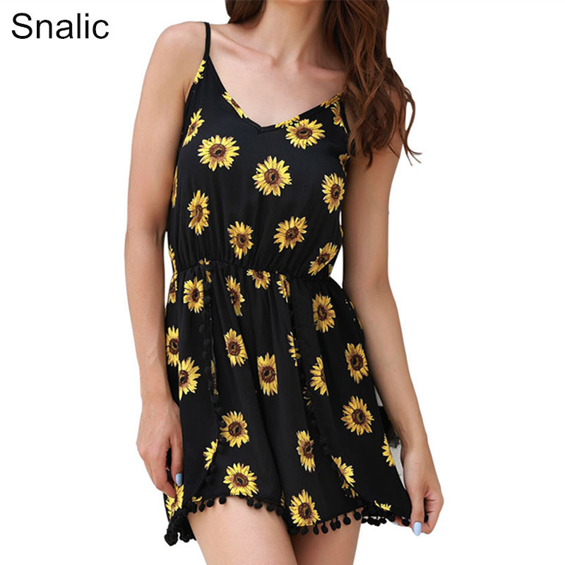 Snalic Summer Rompers Womens Jumpsuit Sunflower Printed Short Playsuits V-Neck Sling Bodysuits Sexy Beach Shorts For Women 2018
